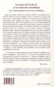 La Chute De L'Urss Et La Recherche Scientifique ; Une Science Fantome Et De Vrais Scientifiques - 4ème de couverture - Format classique