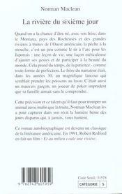 La Riviere Du Sixieme Jour - 4ème de couverture - Format classique