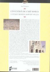 Invention De L Art Roman A L Epoque Moderne (Xviiie-Xixe Siecles) - 4ème de couverture - Format classique