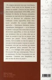 Jean sulivan ; l'écriture insurgée - 4ème de couverture - Format classique