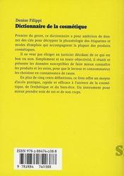 Dictionnaire de la cosmétique - 4ème de couverture - Format classique