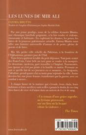 Les lunes de Mir Ali - 4ème de couverture - Format classique