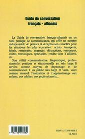 Guide de conversation français-albanais - 4ème de couverture - Format classique