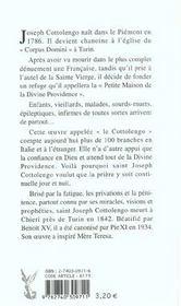 Saint Joseph Cottolengo. La Foi En La Providence - 4ème de couverture - Format classique