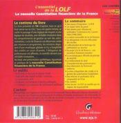 Essentiel Nouvelle Constitution Financiere (L') - 4ème de couverture - Format classique