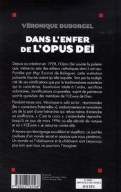 Dans l'enfer de l'Opus Dei - 4ème de couverture - Format classique