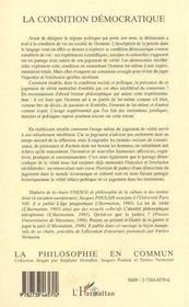 La Condition Democratique ; Justice, Exclusion Et Verite - 4ème de couverture - Format classique