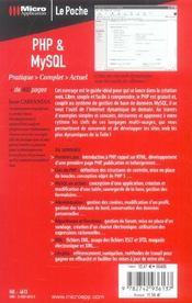 Php et mysql - 4ème de couverture - Format classique