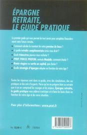 Épargne retraite ; le guide pratique (édition 2008) - 4ème de couverture - Format classique
