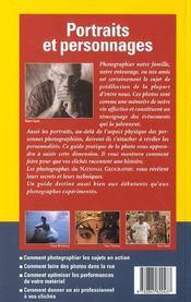 Guide Pratique De La Photo Portraits Et Personnages - 4ème de couverture - Format classique
