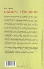 Guillaume Le Conquerant - 4ème de couverture - Format classique