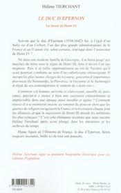 Le Duc D'Epernon - 4ème de couverture - Format classique