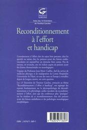 Recondionnement A L'Effort Et Handicap - 4ème de couverture - Format classique