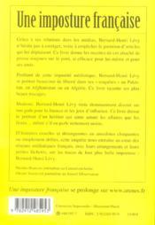 Une imposture francaise - 4ème de couverture - Format classique