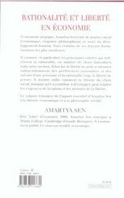 Rationalité et liberté en économie - 4ème de couverture - Format classique