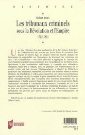 Tribunaux Criminels Sous La Revolution Et L Empire 17921811 - 4ème de couverture - Format classique