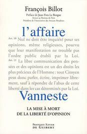 L'affaire Vaneste ; la mise à mort de la liberté d'opinion - Intérieur - Format classique