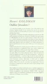Oublier Jerusalem ; une approche d'israel du sionisme et de l'identite juive - 4ème de couverture - Format classique