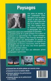 Guide Pratique De La Photo Paysages - 4ème de couverture - Format classique