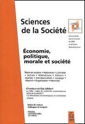 Économie, politique, morale et société (édition 2001) - Couverture - Format classique