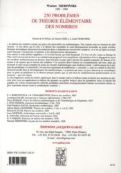 250 problèmes de théorie élémentaire des nombres - 4ème de couverture - Format classique