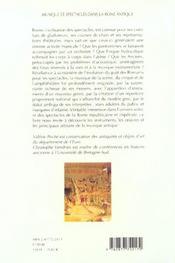 Musique Et Spectacles Dans La Rome Antique - 4ème de couverture - Format classique