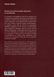 Manuel d'archéozoologie funéraire - 4ème de couverture - Format classique