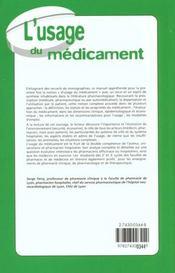 L'usage du médicament - 4ème de couverture - Format classique