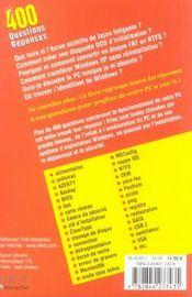400 Questions/Reponses Essentielles Pour Ameliorer Proteger Depanner Votre Pc - 4ème de couverture - Format classique