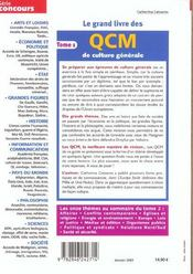 Le Grand Livre Des Qcm De Culture Generale T.1 2003 - 4ème de couverture - Format classique