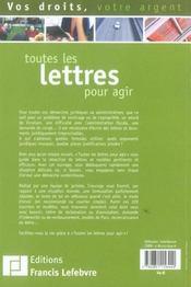 Toutes les lettres pour agir - 4ème de couverture - Format classique
