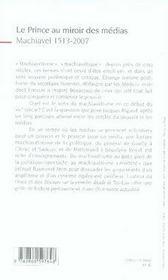 Le prince au miroir des médias ; machiavel, 1513-2007 - 4ème de couverture - Format classique