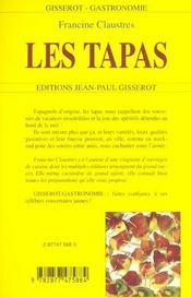 Les tapas - 4ème de couverture - Format classique