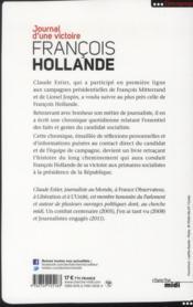 François Hollande ; journal d'une victoire - 4ème de couverture - Format classique