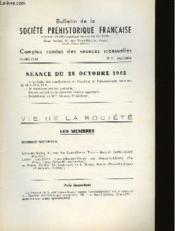 Bulletin De La Societe Prehistorique Francaise - Comptes Rendus Des Seances Mensuelles - Annee 1965 - N°7 Octobre - Couverture - Format classique