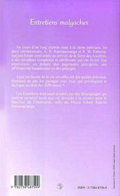 Entretiens Malgaches - 4ème de couverture - Format classique