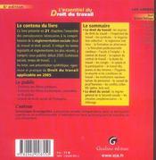Essentiel Du Droit Du Travail 6e Ed. (L') - 4ème de couverture - Format classique