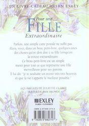 Pour Une Fille Extraordinaire Nlle Edition - 4ème de couverture - Format classique