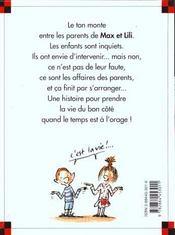 Les parents de Max et Lili se disputent - 4ème de couverture - Format classique