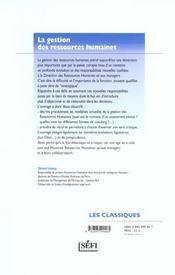 Gestion des ressources humaines - 4ème de couverture - Format classique