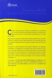 Concours as/ap ; épreuve écrite d'admissibilité culture générale - 4ème de couverture - Format classique
