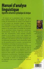 Manuel d'analyse linguistique - 4ème de couverture - Format classique