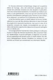 Nouveau Dictionnaire De Bacteriologie Clinique Nouvelle Edition - 4ème de couverture - Format classique