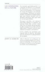 Les Constantes De La Nature - 4ème de couverture - Format classique