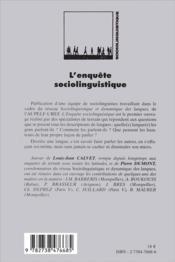 L'enquête sociolinguistique - 4ème de couverture - Format classique