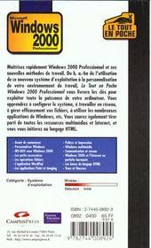 Windows 2000. Professionnel - 4ème de couverture - Format classique