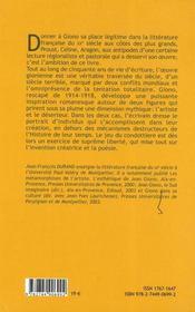 Giono, le jeu du condottière - 4ème de couverture - Format classique