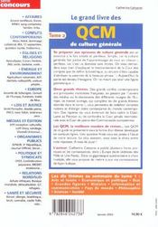 Le Grand Livre Des Qcm De Culture Generale T.2 2003 - 4ème de couverture - Format classique