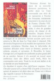 La dame à la licorne - 4ème de couverture - Format classique