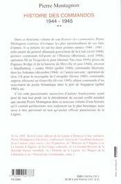 Histoire Des Commandos 1944-1945 T.2 - 4ème de couverture - Format classique